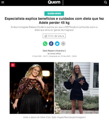 Especialista explica benefícios e cuidados com dieta que fez Adele perder 45 kg