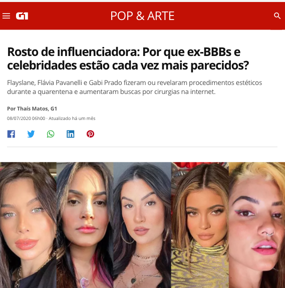 Rosto de influenciadora: Por que ex-BBBs e celebridades estão cada vez mais parecidos?